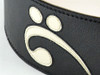 "3.5""Black with Bass Clef Leather Guitar Strap (Wide Model)"