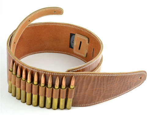 """3.5"""" Brown Leather Guitar Strap with 30-06 (Dummy) Bullets"""