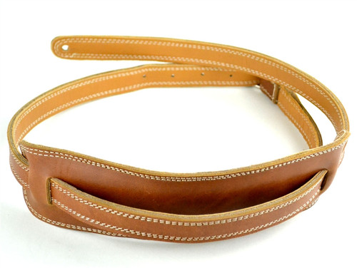 50's Vintage Style Vintage Brown  Leather Guitar Strap