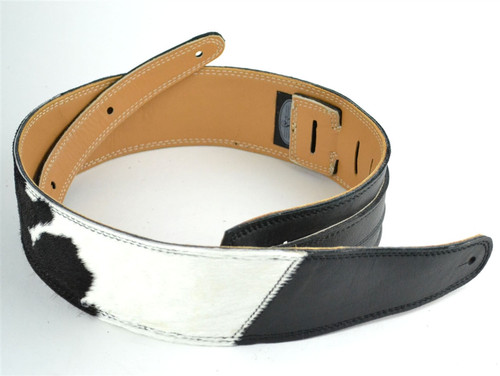 """2.5"""" Two-Tone Black & B&W """"Hair on Hide"""" Leather Guitar Strap"""