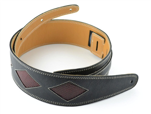 "2.5"" Black Leather Guitar Strap with Red Diamonds"