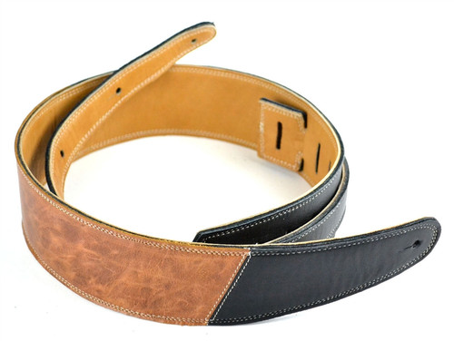 "2.5"" Two-Tone: Black with Vintage Brown Leather Guitar Strap"