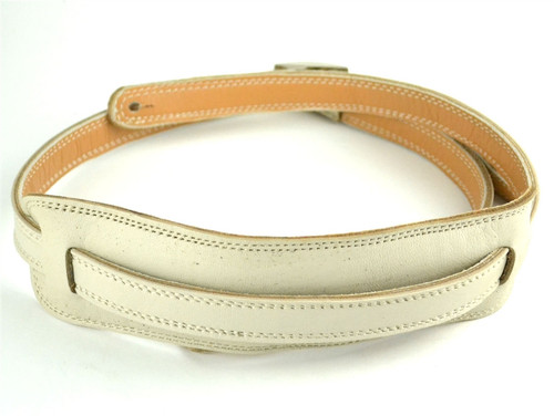 50's Vintage Style Bone White  Leather Guitar Strap