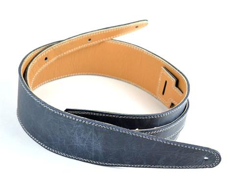 "2.5"" Vintage Blue Leather Guitar Strap w/ Cream Stitch"