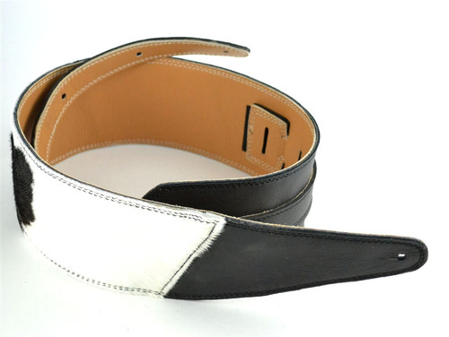 """Two-Tone: 3 .5"""" Black with B&W Hair on Hide Leather Guitar Strap"""