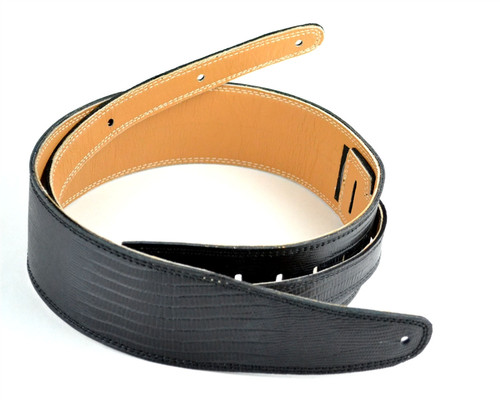 "2.5"" Black Iguana Stitch Leather Guitar Strap"