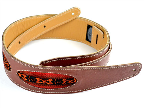 """2 1/2"""" Brown Leather Guitar Strap w/ Peruvian Hand Woven Ovals"""