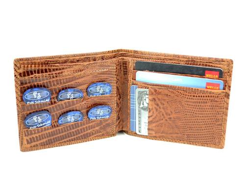 "Brown Iguana Leather ""Pick Panel"" Wallet - Bi-Fold"