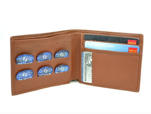 "Brown Leather ""Pick Panel"" Wallet - Bi-Fold"