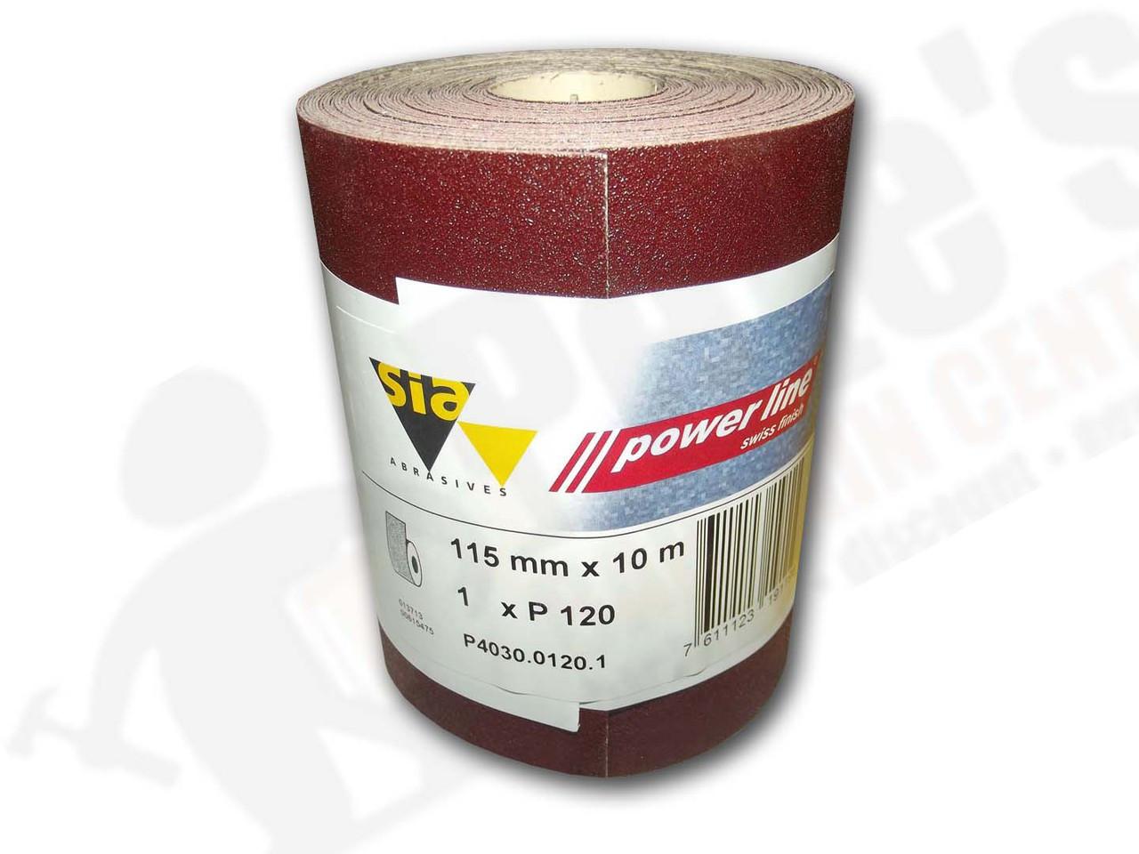 115 mm wide x 10 metre x 120 grit sia Red Sandpaper roll