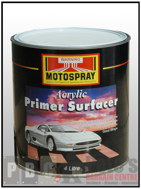ACRYLIC PRIMER SURFACER  BLACK 4 Litre Can