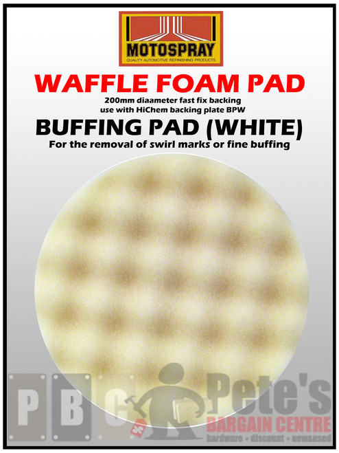 WAFFLE PADS - ( 200mm diameter velcro backed. Use BPW ) White - Buffing 1 Pkt