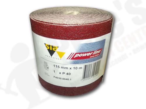 115 mm wide x 10 metre x 40 grit sia Red Sandpaper roll