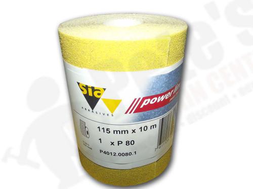 115 mm wide x 10 metre x 80 grit sia Yellow Sandpaper roll