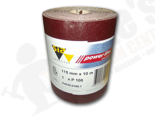 115 mm wide x 10 metre x 100 grit sia Red Sandpaper roll