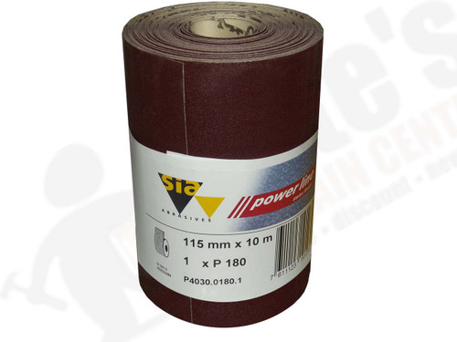 115 mm wide x 10 metre x 180 grit sia Red Sandpaper roll