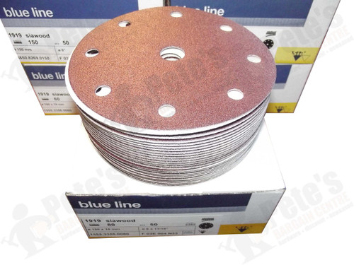 50 - 150 mm x 80 grit 1919 siawood 9 hole disc