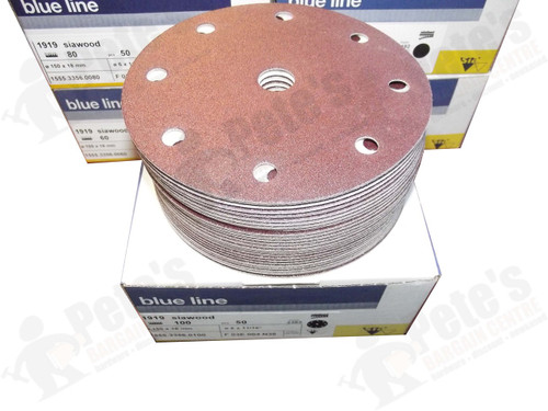 50 - 150 mm x 100 grit 1919 siawood 9 hole disc