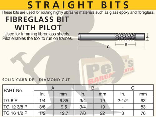 STRAIGHT BIT - FIBREGLASS BIT WITH PILOT SOLID CARBIDE DIAMOND CUT