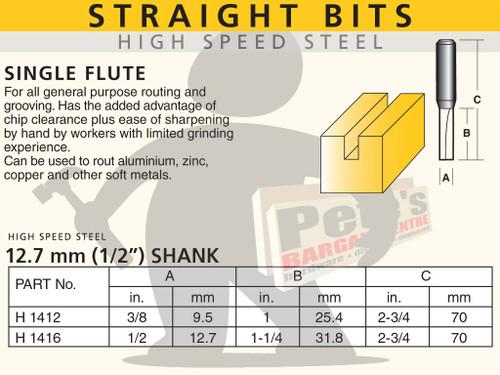 STRAIGHT BIT - TWO FLUTE-HSS 12.7MM