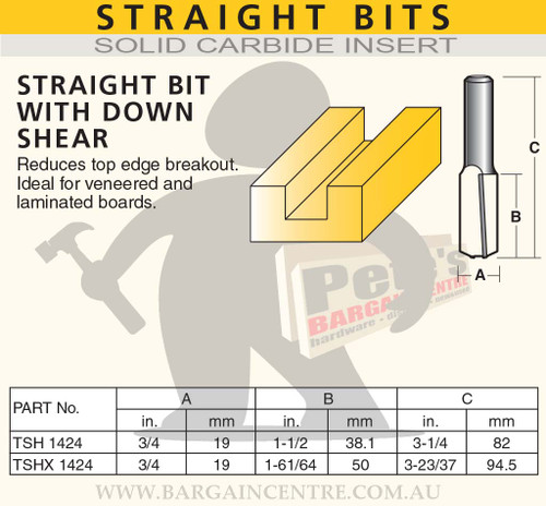 STRAIGHT BIT - WITH DOWN SHEAR