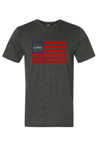 LuxBox Case 'FLAG'• Heathered Grey  Tee Super Soft 90% Cotton | 10% Poly Blend