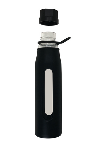 * 20oz Glass Water Bottle with high quality soft tactile silicone * BPA Free * Odorless, Tasteless - doesn't taint the taste of water or any other drinks     * No metallic taste     * No plastic staining or tainted taste     * No worrying about chemical leaching into your beverage