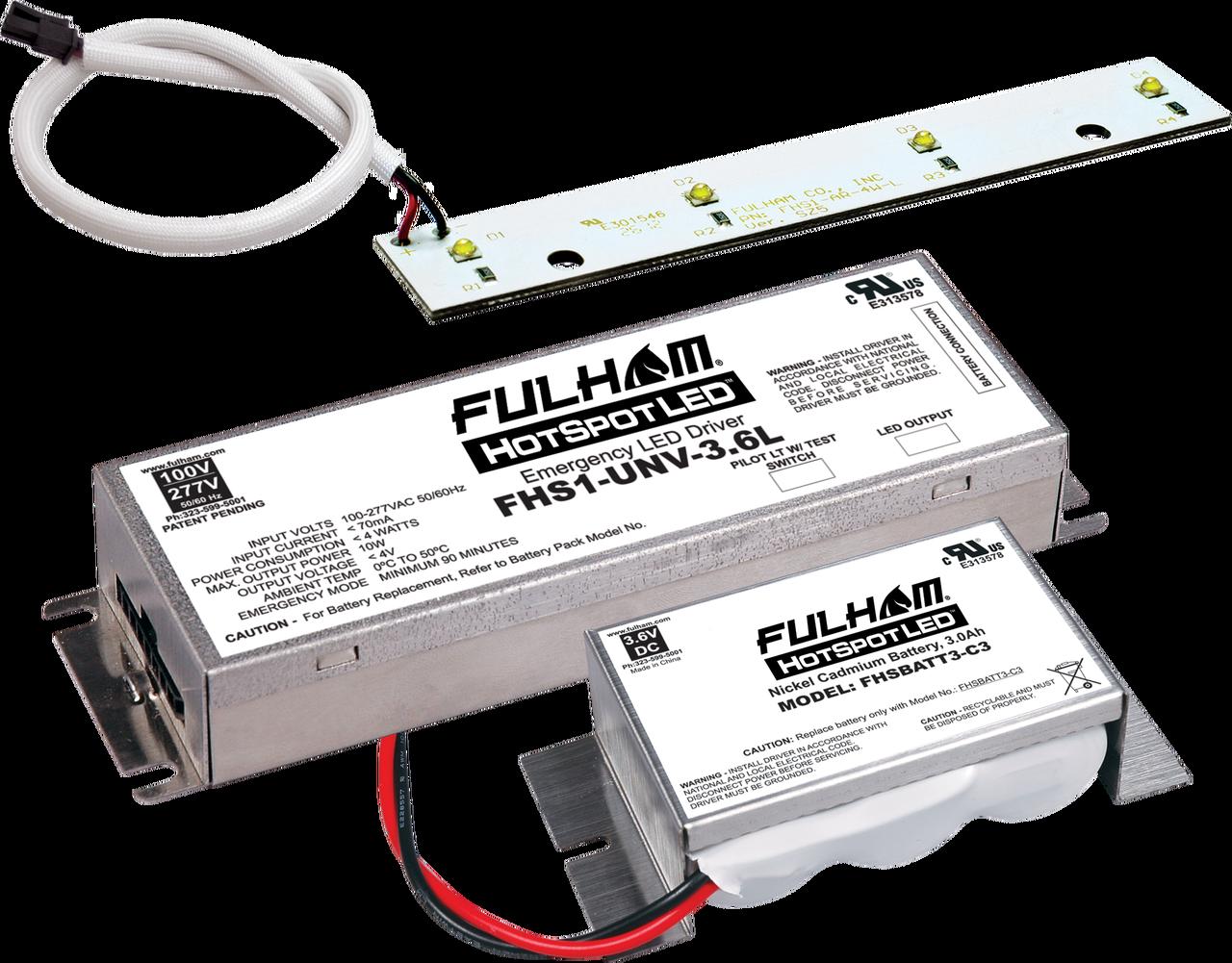 Fulham Hotspot1 1linear Array Emergency Lighting Kit 4w Fluorescent Lamp Driver Fulhamfhskitt04lnc