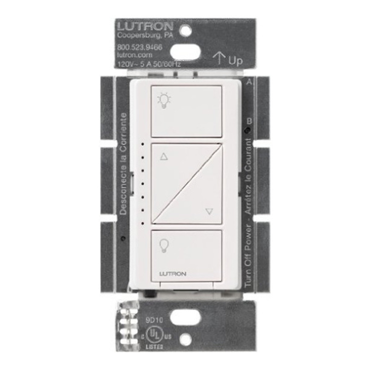LUTRON CASETA 150W LED 1-POLE/MUTLI-LOCATION WHITE DIMMER 15A 120VAC 600W  INCANDESCENT 6WCL - PD-6WCL-WH