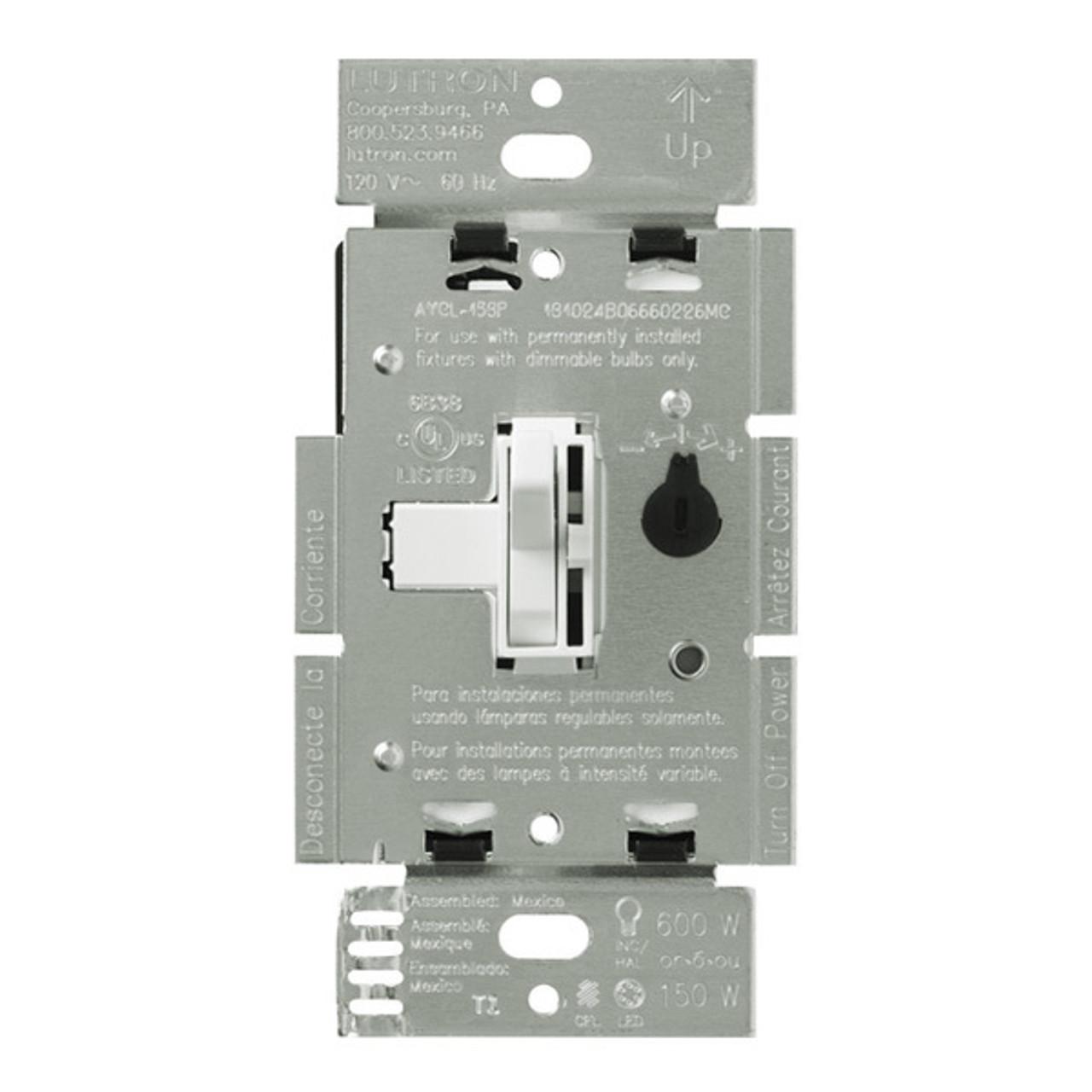 White Lutron DVCL-253P-WH Diva 250-watt Single Pole//3-Way CFL//LED Dimmer