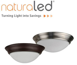 "NATURALED 11"" NICKEL FLUSH-MOUNT STREAMLINED CEILING FIXTURE -  - LED11FMS-98L830-NI 7424"
