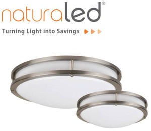 "NATURALED 16"" BRUSHED NICKEL MODERN FLUSH-MOUNTED CEILING FIXTURE - LED16FMM-196L/840-NI 7533"