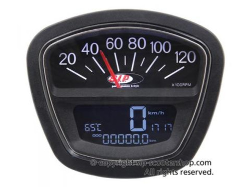 Lambretta SIP Rev Counter/Speedometer - S3 Black (DW-50000800)