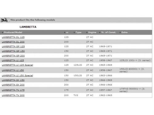 Lambretta Piston Set Assembly Dia 64.2 Mm X 1.5 Ring GP LI SX TV 185 Model S2u