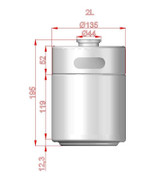 Mini Keg - 2L Stainless - Dimensions