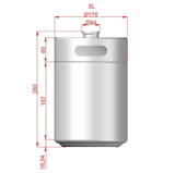 Mini Keg - 5L Stainless - Dimensions