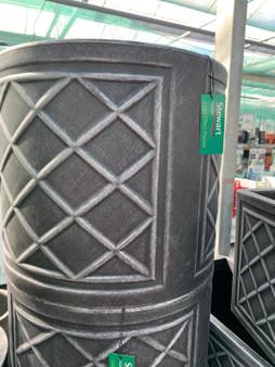 Plastic Round Pot  Decorative Lead Effect 44cm