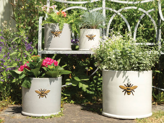 Glazed Wisteria Bee Pot White