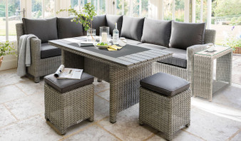 Kettler Palma Corner Set with Polywood Top Table - White Wash Right Hand Orientation