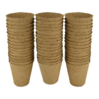 6cm Round Fibre Pots 24pk