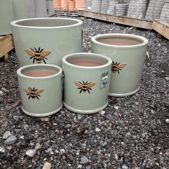 Glazed Wisteria Bee Pot Mint Green