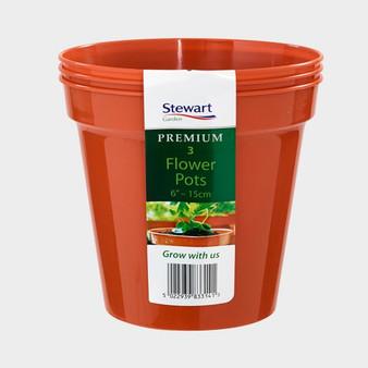 """6"""" Flower Pot - Terracotta - 3 Pack"""