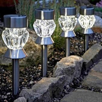 4-Pk Dual Function Crystal Glass Stake Light (1011543)