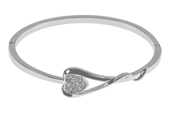Silver CZ Rectangle Heart Bangle
