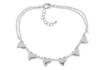 Silver Double Chain Multi Heart Bracelet