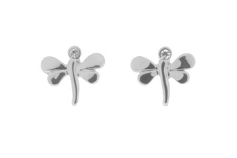 Silver Crystal Dragonfly Stud Earrings
