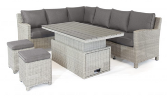 Kettler Palma Corner Set with Height Adjustable Table - White Wash Right Hand Orientation
