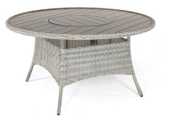 Kettler Palma 6 Seat Round Dining Table with Lazy Susan Whitewash DUE EARLY SUMMER