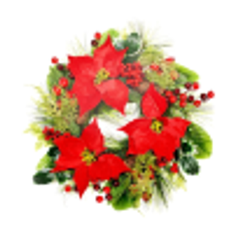Red Poinsettia Door Wreath (boxed) 50cm