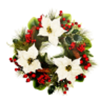 Cream Poinsettia Door Wreath (boxed) 50cm